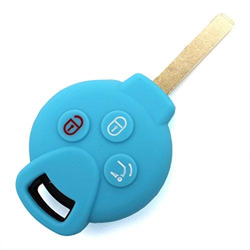 Finest-Folia - Coque en silicone pour clé de voiture à 3 boutons - Bleu clair