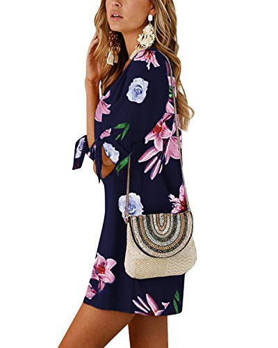 YOINS YOINS Sommerkleid Damen Kurz Tshirt Kleid Rundhals Kurzarm Minikleid Kleider Langes Shirt Lose Tunika mit Bowknot Ärmeln ,M,Dunkelblau-01