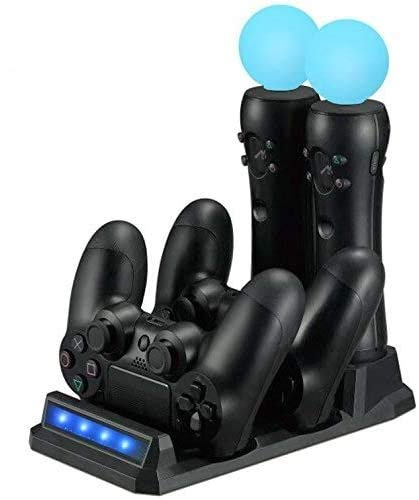 LILY PS VR / PS Move Ladegerät/ Controller Ladestation für PS4 / PS VR / PS Move (Dual Charger Dock für DualShock 4 Gamepad + Dual Charge Storage Port für PS Move), Schwarz