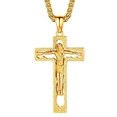 Crucifix INRI Cross Pendiente con Las 24'Cadena de joyería Cristiana de Acero Inoxidable Hip Hop DHES Jesús Collar para Hombres Mujeres Gift (Color : A)
