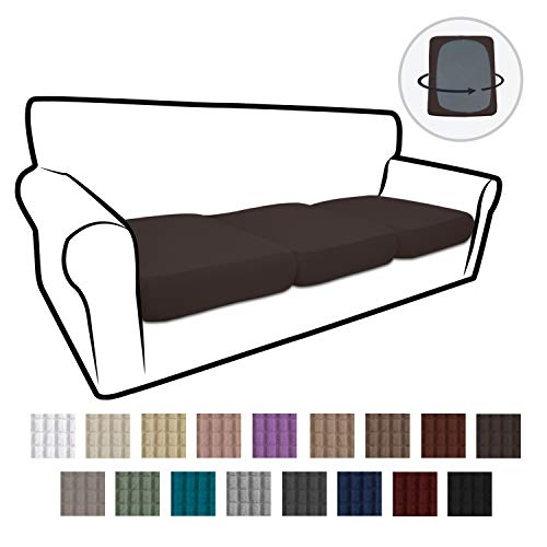 Easy-Going Stretch Cushion Cover Sofa Cushion Furniture Protector Sofa Seat Sofa slipcover Sofa Cover Soft Flexibility with Elastic Bottom(3-Piece Chair Cushion,Chocolate)