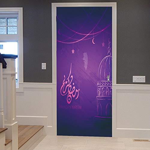 DFKJ Sala de Estar Dormitorio 3D Pavo Real Animal Puerta Pegatina Impermeable Papel Pintado Pegamento decoración del hogar Cartel A3 77x200cm