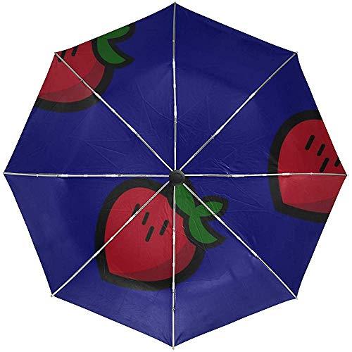 Automatischer Regenschirm-Erdbeermuster-Beschaffenheits-Reise-herkömmliches winddichtes wasserdichtes faltendes Auto öffnen Sich nah