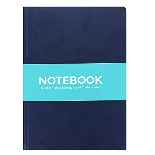 Multi-Color Personal Notebook Set - Elastic Band and Ribbon Bookmarks - 5.8' x 8.3' Lined Pages, Hardback Binding for Personal and Business Use (Navy)