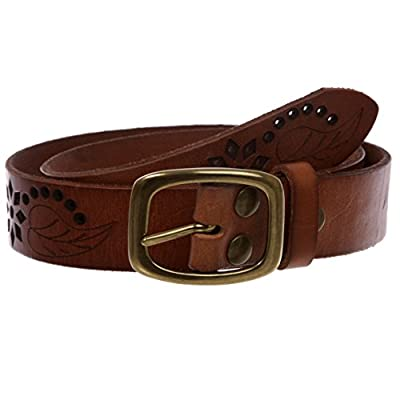"""1-1/4"""" Perforated Oval Embossed Casual Vintage Leather Jean Belt, Tan 