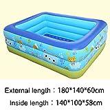 Pool Aufblasbare Quadratische PVC Kinder Schwimmbad Cartoon Muster Wärmeerhaltung Kinder Paddeln Baby Pool, 180X140X60Cm, China