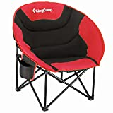 KingCamp Camping Chair Oversized Padded Moon Round Saucer Chairs Camping Folding Chair with Cup Holder,Storage Bag,Carry Bag for Camping, Hiking Fishing Sports Balck&Red Camping Chair