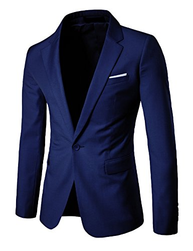 Newrong - chamarra para hombre Slim Fit One Button Blazer,  Azul oscuro, Asian S(US XS)