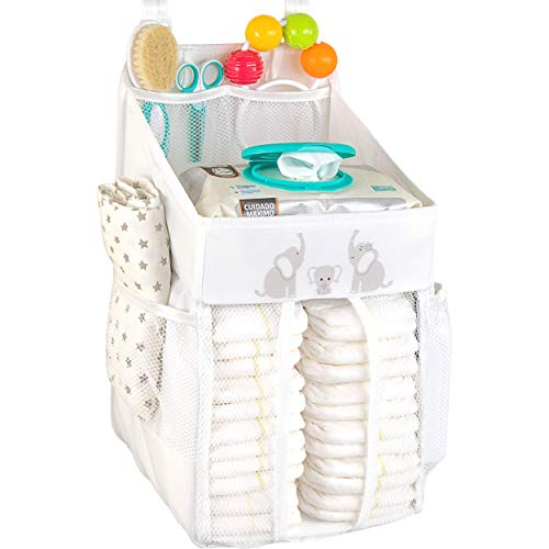 Hanging Diaper Caddy – Crib Diaper Organizer – Diaper Stacker for Crib, Playard or Wall – Newborn Boy and Girl Diaper Holder for Changing Table - Baby Shower Gifts- Elephant White - 17x9x9 inches
