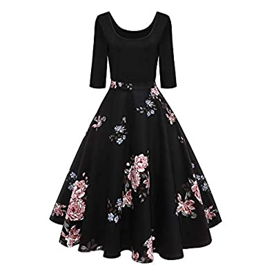 Prom Dresses for Women,Fashion Women Three Quarter Sleeve Floral Printed Vintage Draped Party Dress by