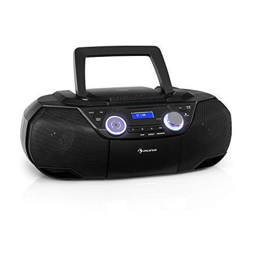 auna Roadie 2K Boombox, Radio mit DAB+ / UKW, CD-Player, CD-R/CD-RW/CD-MP3, Kassettenradio, tragbar, USB-Port, MP3 / WMA, Bluetooth 5.0, AUX-Eingang, Netz- und Batterie-Betrieb, schwarz