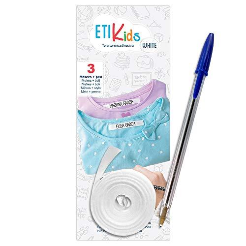1Rotolo di nastro in tessuto da 3metri x 1cm, di colore bianco Etichetta termoadesiva personalizzabile con scritte. Include una penna.