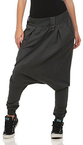 Malito Damen Haremshose mit tiefem Schritt   Jogginghose in Unifarben   Baggy zum Tanzen   Sweatpants - Aladinhose 91086 (dunkelgrau)
