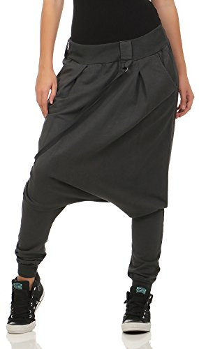 Malito Damen Haremshose mit tiefem Schritt | Jogginghose in Unifarben | Baggy zum Tanzen | Sweatpants - Aladinhose 91086 (dunkelgrau)