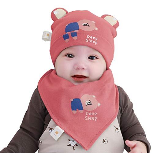 FOLDING Sombreros Gorras Sombrero del bebé Toalla de la Saliva Set del Muchacho del Invierno calientan la Muchacha del niño Orejeras Sombrero de los niños (Color : Bear-Orange, Size : M)