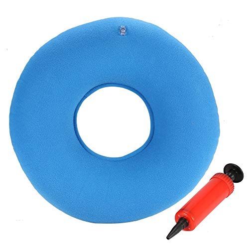 Delaman Orthopädisches Sitzkissen Ergonomisches Aufblasbares Sitzkissen Rund mit Pumpe für Hämorrhoiden Dekubitus Rollstühle Schwangere 34cm Blau/Grün/Rot (Color : Blue)