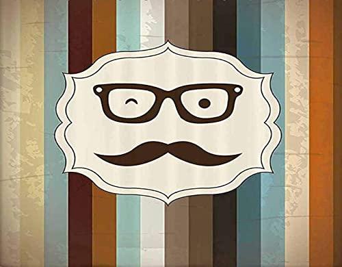 FOURFOOL DIY 5D Diamante Pintura por Número Kit,Cara de hombre divertido con bigote y gafas guiñando un ojo sobre fondo rayado Sir Artwork,Rhinestone Bordado Artes Manualidades Lienzo,40x50cm