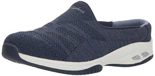 Skechers Women's Commute-KNITASTIC-Engineered Knit Open Back Mule, Navy/Grey, 6.5 M US
