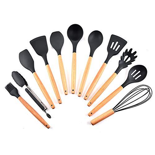KKmoon Conjunto de utensílios de cozinha de silicone 11 unidades com cabo de madeira de faia resistente ao calor e antiaderente colher espátula utensílios de cozinha
