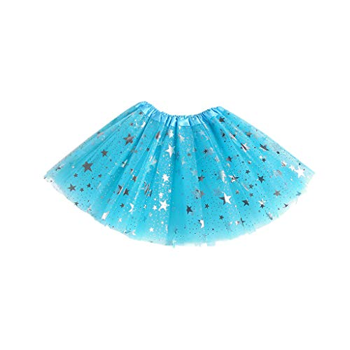 Autone Net Yarn Mini Tutu Skirt Five-Pointed Star Sequins Princess Skirts for Kids Girls