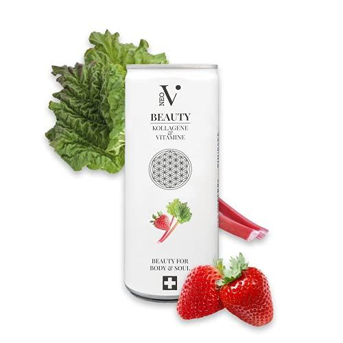 NEO-V Beauty-Drink mit Kollagen & Vitaminen - Anti-Aging Vital-Drink - Collagen Getränk - Schönheit von innen - Erdbeere & Rhabarber - 250 ml Dose