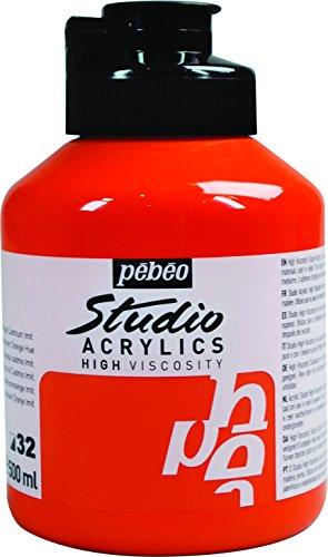 PEBEO Studio - Barattolo di Colore Acrilico da 500 ml, Colore Arancione