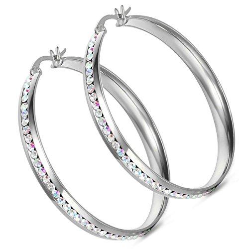 Muttertagsgeschenk Cupimatch Damen Groß Creolen Ohrringe, Edelstahl Silber Strass Runde Ohrschmuck Ohrhänger für Frauen Freundin Mädchen