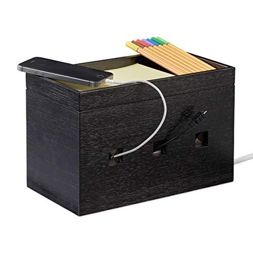 Relaxdays Kabelbox Bambus, Steckdosenleiste & Kabel verstecken, Kabelmanagement Schreibtisch, 16,5x25,5x14cm, schwarz