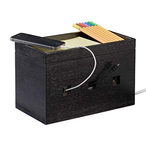 Relaxdays Kabelbox bamboe, stekkerdoos & kabels verstoppen, kabelmanagement bureau, 16,5x25,5x14cm, zwart