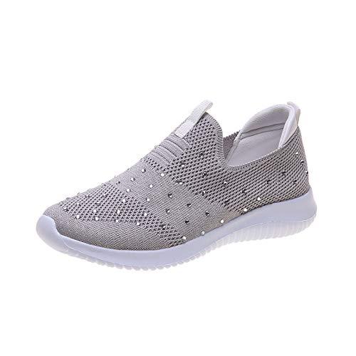 LJT Damas Zapatos de Caminata Plana liviano Transpirable Calzado para Correr Malla cómoda Zapatillas de Deporte Deportes de Deporte Zapatillas de Deporte de Tenis Rhinestone Lienzo,Gris,40