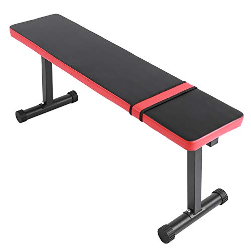 Hantelbank Flachbank bis 300 kg belastbar Multifunktional Fitness Bank Trainingsbank für Krafttraining Bauch- und Rückentrainer, Schwarz + Rot, 114 x 33 x 47 cm