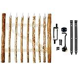 BOGATECO Grande Portillon Ferme Jardin en Bois | Largeur: 100cm | Hauteur: 80 cm | Largeur Entre Piquets de Clôture 6-7 cm | Comprend Charnières et Accessoires | Porte S'ouvre à Droite