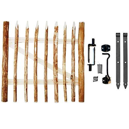 BOGATECO Zauntor Haselnuss | Breite: 100cm | Höhe 90 cm | Abstand zwischen den Zaunlatten 6-7 cm | Gartentor aus Holz für Staketenzaun | mit Scharniere inkl. Zubehör | Türöffnung nach rechts