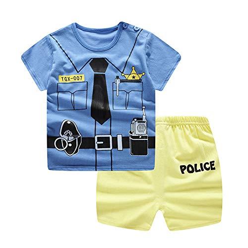 Treer Kinder Pyjamas Baumwolle Kurzarm Pajama Set, Sommer Rundhals Schlafanzüge Kinder Snug-Fit Zweiteiliger Baby Bekleidungsset Kleinkind Jungen Mädchen Nachtwäsche (110cm,Blaue Polizei)