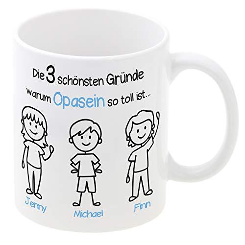 Tasse Opasein (2 Jungen, 1 Mädchen): individueller Kaffeebecher mit Personalisierung, persönliches Geschenk für Opa, Geburtstagsgeschenk, Becher mit Namen Bedruckt