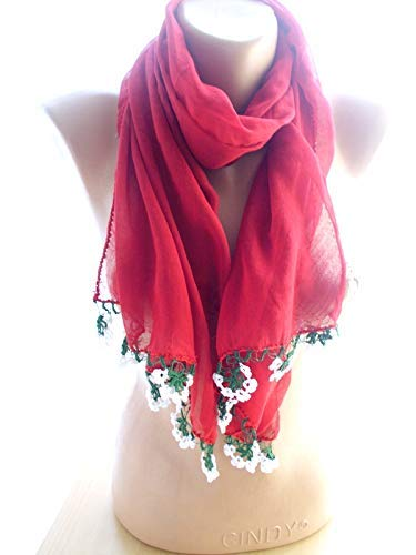 Minneapolis Mall Red Crinkle Ranking TOP17 Scarf Long Shawl Women Accessories Christmas G