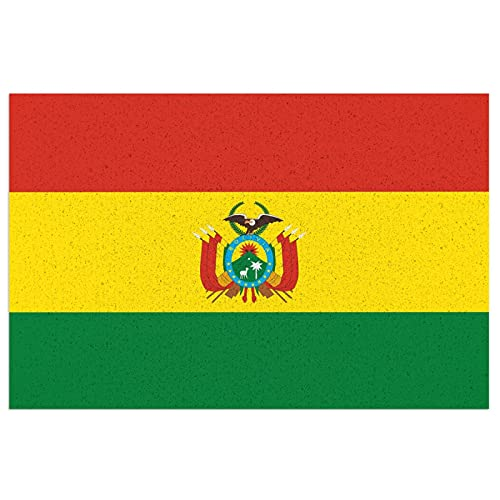 Fußmatte Bolivien-Flagge Nationalsymbol Außen/Innen Fußmatte saugfähig Eingangsmatte PVC Anti-Rutsch Badteppich leicht zu reinigen Eingang Teppich für Badezimmer Zuhause stark frequentierte Fläche