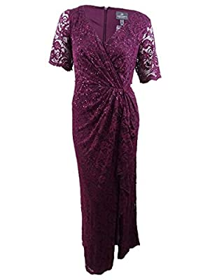 Adrianna Papell Women's Paisley ST. LACE Long Dress with Draped Skirt, Rich Raisin, 4