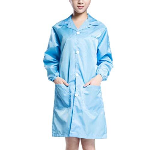 Artibetter Dokter Verpleegster Jas Blauw Medische Scrub Jas Top Beschermende Ziekenhuis Werkkleding Verpleging Werkkleding Lichaamsbescherming Overall (Blauw Maat 2Xl)