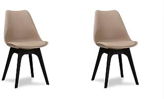 Conjunto de 2 sillas escandinavas de comedor, diseño retro tipo tulipán, patas negras