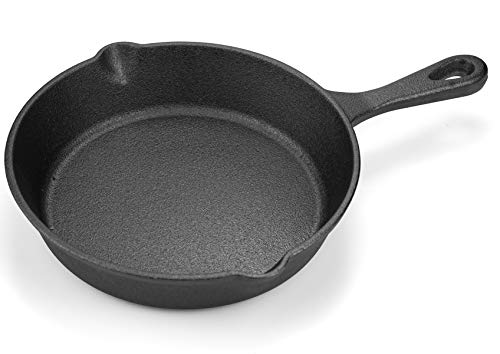 Lawei Cast Iron Skillets - 6 Inch Non-Stick Pre-Seasoned Skillet Frying Pan for Kitchen Cooking Eggs, Meat, Pancake, Indoor and Outdoor Use, Oven, Grill, Stovetop, Induction Safe