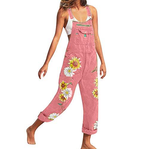 OEAK Damen Jeanslatzhose Latzhose Jeans Hose Vintage Loose fit Jumpsuit Overall Blumen-Drucken Denim Playsuit Romper (Rosa Sonnenblume, 3XL)