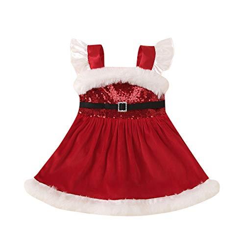 WangsCanis Disfraz de Navidad para niño, niña, vestido de payaso completo de terciopelo suave y cálido, vestido para fiesta de Navidad Año Nuevo 0 – 4 años, Vestido D, 18-24 Meses