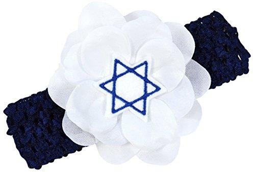 Hanukkah Jewish Star of David Chanukah Crochet Flower Headband fits Newborn to 5 Years