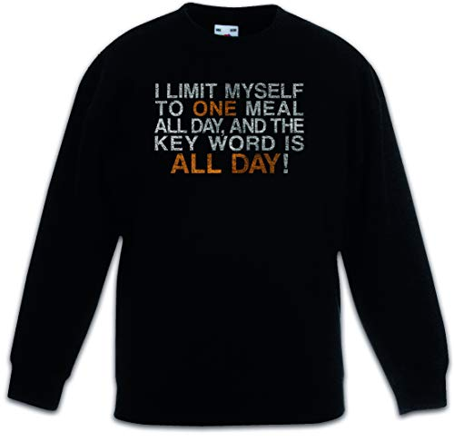Urban Backwoods I Limit Myself To One Meal All Day Kinderen Jongens Meisjes Sweatshirt Pullover Trui Schwarz