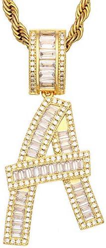 Custom Letter Necklace Abbreviation Initials Letters Hip Hop Pendant Chain Gold Letter Men s product image