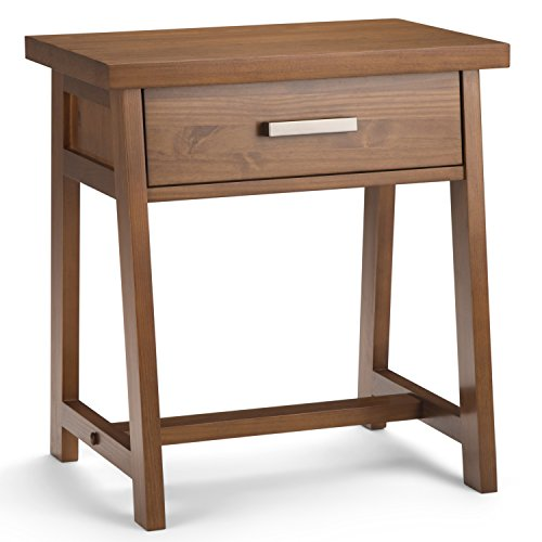 SIMPLIHOME Sawhorse 24 inches Wide Night Stand, Bedside table, Medium Saddle Brown SOLID WOOD, Rectangle, with Storage, 1 Drawer, For the Bedroom, Modern Industrial