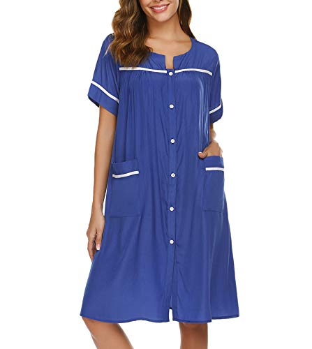 luxilooks Button Down Cotton Robe Nightgowns for Elderly Snap Dusters(Navy,Large)