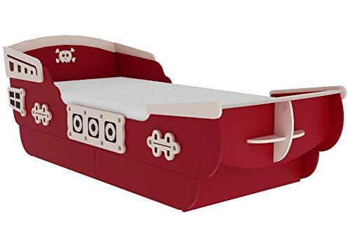 habeig Kinderbett Pirat Bett Piratenbett Spielbett mit Schubfach unterm Bett 120x200cm rot weiß mit Lattenrost