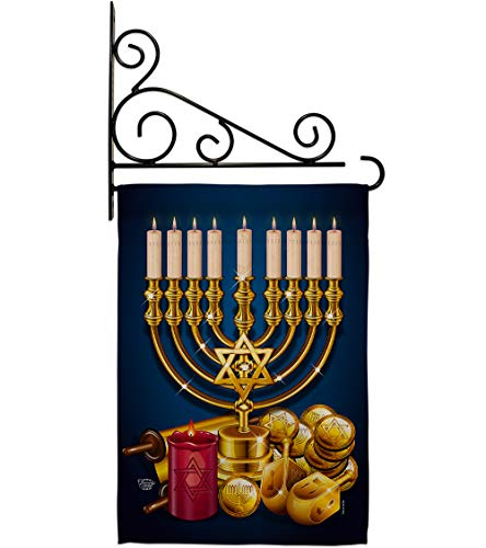 Ornament Collection Jewish Festival Garden Flag Set Wall Holder Winter Hanukkah Candle Bonsai Menorah Chanukah David House Decoration Banner Small Yard Gift Double-Sided, 13'x 18.5', Thick Fabric